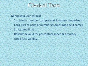 The Minnesota Clerical Test (MCT)
